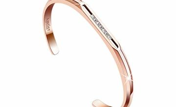 Amtier Women Bracelet Lady Open Cuff Bangle Stainless Steel Wristband with 7 Slidable Cubic Zirconia (CZ) Crystals Silver & Rose Gold