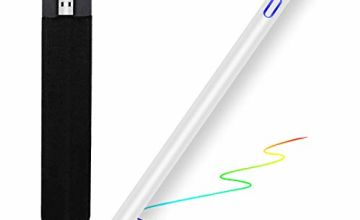 MPIO Stylus Pen for Apple iPad Active Capacitive Rechargeable Fine Tip 1.5mm Stylus Pencil for Drawing and Writing on iPad/iPhone/Samsung, iOS&Android Tablet with Apple Pencil Case, Magnetic Mesh Cap