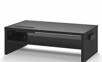 BONTEC Wood Monitor Stand Riser, Desk Monitor Stand with Smartphone Holder, Ergonomic Laptop Stand with Cable Management for Computer, Notebook, iMac, PC, 2 Tiers Black (W420 x D235 x H142mm)