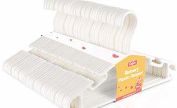KEPLIN 36 Pack White Plastic Nursery Hangers, Nonslip Baby Coat Hangers, Space Saving Tubular Hangers, More Storage for Kids Children Clothes Dresses