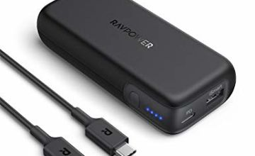 RAVPower USB C Portable Charger 10000mAh, Power Bank Power Delivery (18W) External Battery Pack for iPhone 11/Pro/Max/ 8/ X/XS, Samsung Galaxy S10, and More - Black