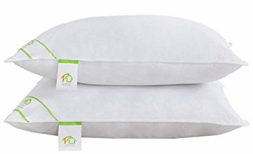 SUFUEE Goose Feather and Down Pillows Pair, Pillows with 100% Cotton Cover, Medium and Soft Firmness, Hotel Quality