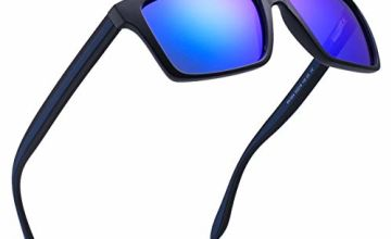 PUKCLAR Polarised Sunglasses Mens Black Sunglasses Womens Sunglasses Mirrored Lens