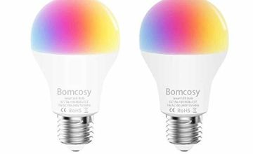 Bomcosy WiFi Smart Light Bulb E27 A60 600LM 60W Equivalent Dimmable Colour LED Lights,Remote Control by Smart App Voice Control by Amazon Alexa & Google Home No Hub Required