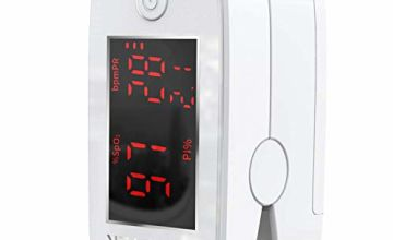 Pulse Oximeter, Oxygen Saturation Monitor Finger Pulse Monitor Child and Adult with LED Display, with Lanyard (White)