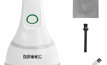 Duronic Fabric Shaver FS16USB | De-Bobbler | Removes Lint and Bobbles from Clothes | Fuzz and Fabric Pill Remover | Rotating Handle | USB Charging | Storage Pouch | Revive Old Jumpers, Sweaters, Coats