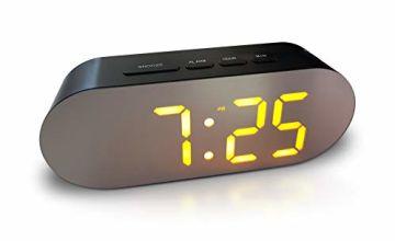 Digital Alarm Clock - Mains Powered, No Frills Simple Operation Alarm Clocks, Bedside Alarm, Snooze, Non Ticking, Full Range Brightness Dimmer, Big Digit Mirror Display, Two USB Charging Ports