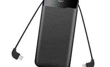 ElephantStory Power Bank 20000mAh, Portable Charger with 3 Inputs and 4 Outputs, External Battery with Cable LED Digital Display, Powerbank for iPhone, Huawei, Samsung, Xiaomi - Black