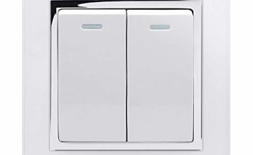Retrotouch Crystal 2-Gang 2-Way 10A Light Switch White Glass with Chrome Trim