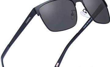 Carfia Polarised Mens Womens Sunglasses Square Frame UV400 Protection for Driving