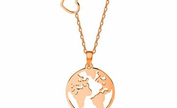 VU100 World Map Pendant Necklace for Women Girls Hollow Roun