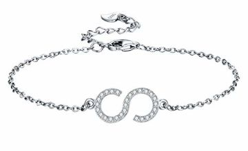 J.RIKKI Women Initial Bracelet 925 Silver Letter Bracelet Women Jewellery with Elegant Gift Box for Wife/Daughter/Girlfriend