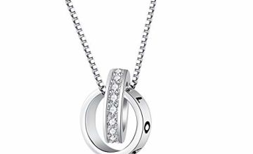 F.ZENI Women Necklace for Mother and Daughter, 925 Sterling Silver Infinity Circle Necklace Together Forever Cubic Zirconia Pendant Necklace for Women/Girlfriend/Wife