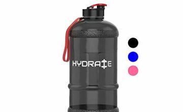 HYDRATE 1.3 Litre Water Bottle - Now With Easy Drink Cap - Durable & Extra Strong - BPA Free - Ideal for: Gym, Dieting, Bodybuilding, Outdoor Sports, Hiking & Office