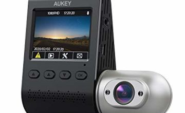AUKEY Dual Dash Cams 3 in 1 FHD 1080p IR Night Vision Car Camera 170 Degrees Wide-Angle Dash Cameras for Cars with Supercapacitor, WDR, Motion Detection, G-sensor, Loop and Dual-Port Car Charger