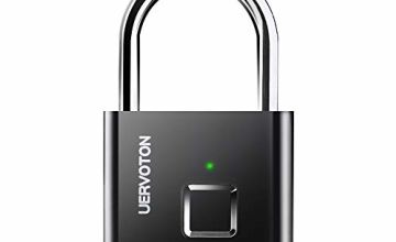 Fingerprint Padlock, Uervoton Gym Lock for Locker, Sports, School & Employee Locker, Outdoor, Fence, Hasp and Storage - All Weather Metal and Steel IP65 (No App Lock) (Black)