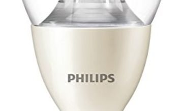 Philips LED Warm Glow E14 Small Edison Screw Dimmable Mini Globe Light Bulb, Clear, 6 W (40 W)-White