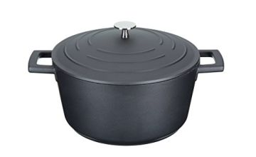 MasterClass Cast Aluminium Induction-Safe Non-Stick Casserole Dish with Lid,  Black,  4 Litre