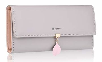 FT FUNTOR PU Leather Wallet for Women RFID Blocking Ladies Leaf Pendant Coin Zipper Long Purse
