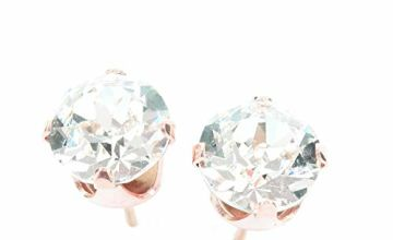 pewterhooter 18ct Rose Gold on 925 Sterling Silver stud earrings for women made with sparkling Diamond White crystal from Swarovski®. London jewellery box. Hypoallergenic & Nickel Free Jewellery.