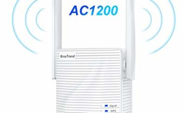 BrosTrend AC1200 WiFi Booster Range Extender, Extend Dual Band WiFi of 5GHz & 2.4GHz, 1200Mbps Wireless Signal Repeater, WiFi Extender, 1 Ethernet Port, Access Point, Wi-Fi Bridge, Easy Setup, UK Plug