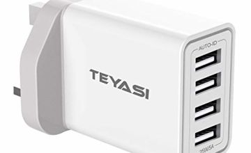 TEYASI USB Plug Fast Charger, QC 3.0 Wall Charge UK/34W 6A 4-Port Quick Charging Adaptive 3 Pin Mains for Samsung S10 S9 S8 S7 S6 A40 A50 A70,Huawei P30,P20 P10,Phone 11Pro XR X 8Plus 7,Kindle etc