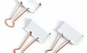Save on Rapesco 1508 19 mm Coloured Foldback/Binder Clips - White with Rose Gold Handles and more