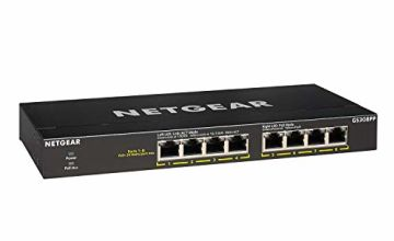 NETGEAR GS308PP 8-Port Gigabit Ethernet Unmanaged PoE+ Switch with 8 x PoE+, Desktop/Rackmount/Wallmount, Sturdy Metal, 83 W