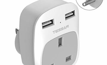 UK to US Plug Adapter with 2 USB Ports - TESSAN Grounded America Travel Adapter - 3 in 1 Power Adaptor for USA, Canada Thailand Mexico and More (Type B)