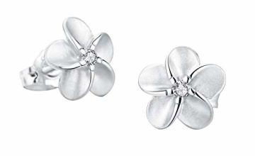 SILVERAGE Stud Earring Sterling Silver Flower Earrings For Women With AAA Cubic Zirconia (14mm(0.55in))