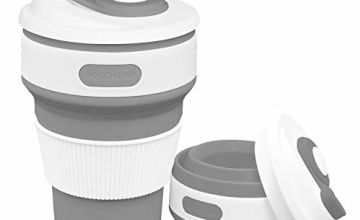 Silicone Collapsible Cup, Rocontrip Foldable Travel Mug Leak Proof Coffee Folded Cup Gift Mug 350mL 100% Food Grade BPA Free for Outdoor Camping Hiking