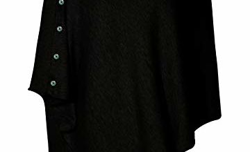 PULI Women Button Knitted Shawl Poncho Cape Cardigan Cashmere/Cashmere Feel Wrap Scarf for Spring Summer Autumn