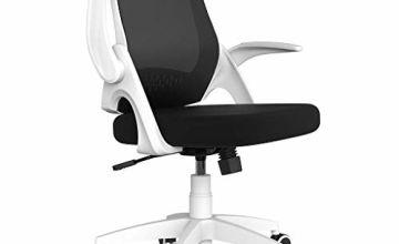 Hbada Office Chair Desk Chair Flip-up Armrest Ergonomic Task Chair Compact 120 Degrees Locking 360 Degrees Rotation Seat Surface Lift Reinforced Nylon Resin Base