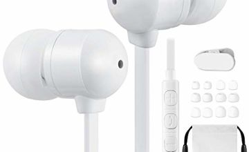Betron B750s Earphones with Microphone and Volume Control, In-Ear Wired Headphones, Tangle Free, Noise Isolating, Heavy Deep Bass, Compatible with iPhone, iPod, iPad, Samsung Smartphones