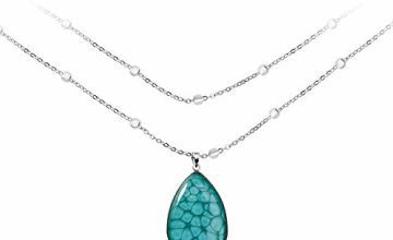 Graceful Long Chain Turquoise Silver Tone Pendants Gifts for Women; Trendy Amazonite Blue Necklaces Accessories for Birthday; 40 inch Pendant Diameter 1.5cx 1.2 inch