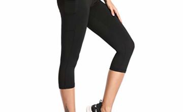 SIMIYA Womens Sports Leggings High Waist Fitness Capris Running Tights with Pockets 3/4 Length Slim Fit Cropped Yoga Pants Power Stretch Gym Trousers