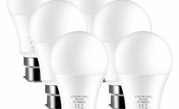 6-Pack 11W B22 LED Bulbs 100W Equivalent 1100lumens