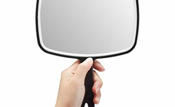 OMIRO Hand Mirror, Extra Large Black Handheld Mirror with Handle,Square