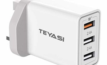 TEYASI USB Fast Charger Plug UK,Quick Charging 3.0 Multi USB Charge Mains Plug Adapter 30W/6A for Samsung S10 S9 S8 S7 S6 A40 A50 A70,Huawei P30,P20 P10,iphone 11 pro Max XS XR X SE 8 7 6,ipad ect