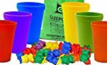 Gleeporte Colorful Counting Bears with Coordinated Sorting Cups Montessori Sorting, and Counting Toy Educational for Toddlers and Children (67 Pcs Set) 60 Bears 6 Cups Storage Bag