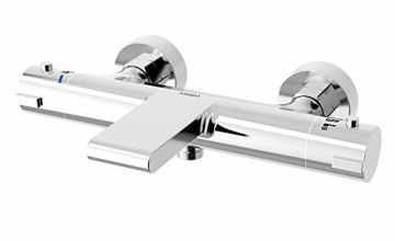 AIHOM Chrome Thermostatic Bath Mixer Shower Taps Modern Bathroom Waterfall design Wall Mounted Brass Diverter Valve Anti Scald