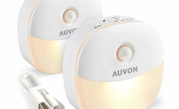 AUVON Night Light, USB Rechargeable LED Motion Sensor Light, Removable Magnetic Strip Stick-On Cupborad, Wardrobe, Closet, Kitchen, Stairs, Bedroom, Hallway (2 Pack)