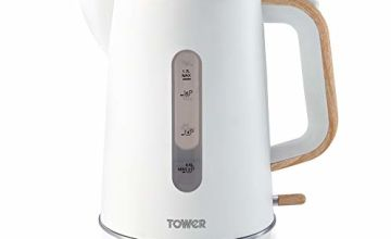Save on Tower Scandi T10037 Cordless Rapid Boil Kettle with Boil Dry Protection, Automatic Switch Off, Indicator Light, Stylish Scandinavian Design, 1.7 Litre, 3000 W, White with Wood Accents and more