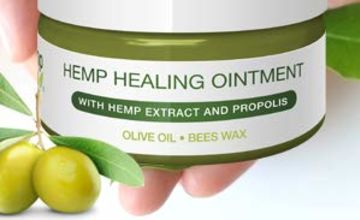 Premium Hemp Healing Skin Ointment | Natural Hemp Extract, Propolis, Virgin Olive Oil, Lavender | Rejuvenates Irritated Skin from Psoriasis & Eczema, Reduces Signs of Aging, Stretch Marks, Scars