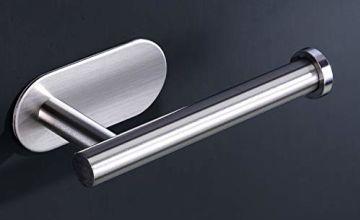 Qeekzeel Toilet Roll Holder, Self-Adhesive Stainless Steel Wall Mount Stick on Toilet Paper Holder for Bathroom Kitchen