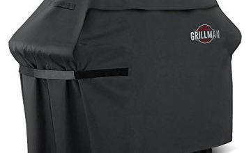 Grillman Premium BBQ Grill, Heavy-Duty Barbecue Cover for Weber, Brinkmann, Char Broil etc. Rip-Proof, UV & Water-Resistant, Black