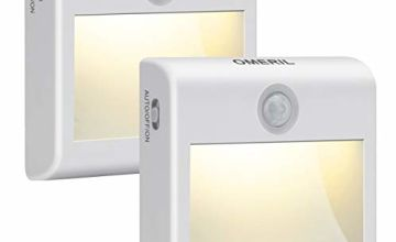 Motion Sensor Lights, OMERIL [2 Pack] Stick-on Cupboard Light with 7 Warm White LED, Built-in Magnet, Battery Powered Night Light for Wardrobe, Hallway, Closet, Cabinet, Kitchen, Stair, etc.