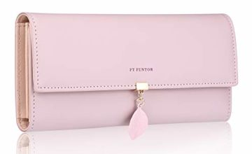 FT FUNTOR PU Leather Wallet for Women RFID-Blocking, Ladies Bifold Leaf Pendant Coin Zipper Small Purse with 5 Card Slots and 1 ID Window Card Holder Organizer (Deep Pink)