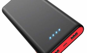HETP Power Bank, Portable Charger 25800mAh [Newest Black-Red Design] High Capacity Power Banks with 2 USB Ports External Battery Pack with 4 LED Lights for Smart Phones,Tablet and Other Devices