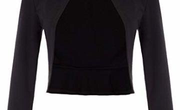 Belle Poque Women's Vintage Long Sleeve Open Front Ruffled Bolero Shrug Tops GF788